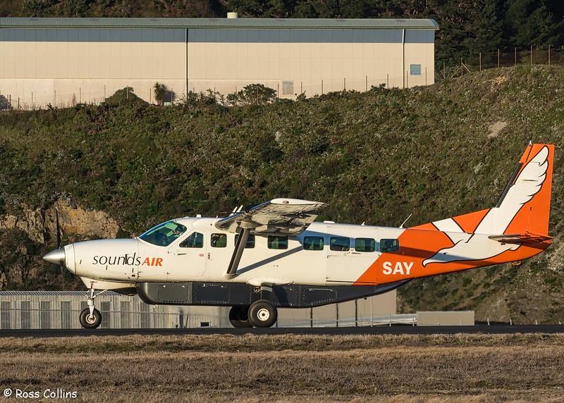 Sounds Air Cessna 208B Grand Caravan departs WLG to BHE as S8267, 21 June 2017