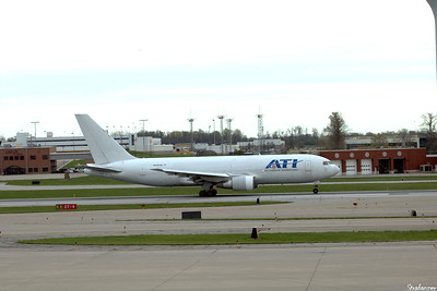 Cincinnati KCVG    04/13/2019  Boeing 767-223(BDSF)  c/n 22316 N255CM   Air Transport International Taking off on runway 27 for KDFW  This work is licensed under a Creative Commons Attribution- NonCommercial 4.0 International License.