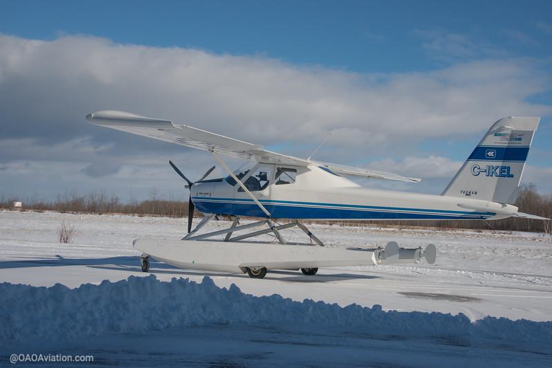 Collingwood Airport Winter Snow Tecnam p92 Echo CIKEL (2 of 6).jpg