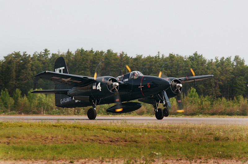 This 1946 Grumman Tigercat leaves Dryden for the next fuel stop: Medicine Hat, Alberta. Eventually to land in California to possibly spend the rest of her days in a museum.