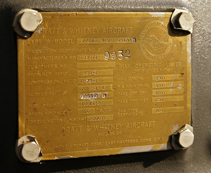 Builders plate on number 2 engine.
