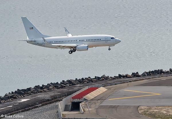 USAF C-40C 02-0202 arriving at Wellington, 9 December 2018