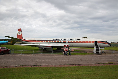 G-BDIX is a de Havilland Comet 4C and is displayed in Dan Air colours.  This airframe was built in 1962 and is powered by four Rolls Royce Avon 525C engines.  This airframe flew a total of 16,318 hours as of 31st Dec 1979.  The design first flew ion 27th July 1949 and the final flight of a Comet took place on 14th March 1997.