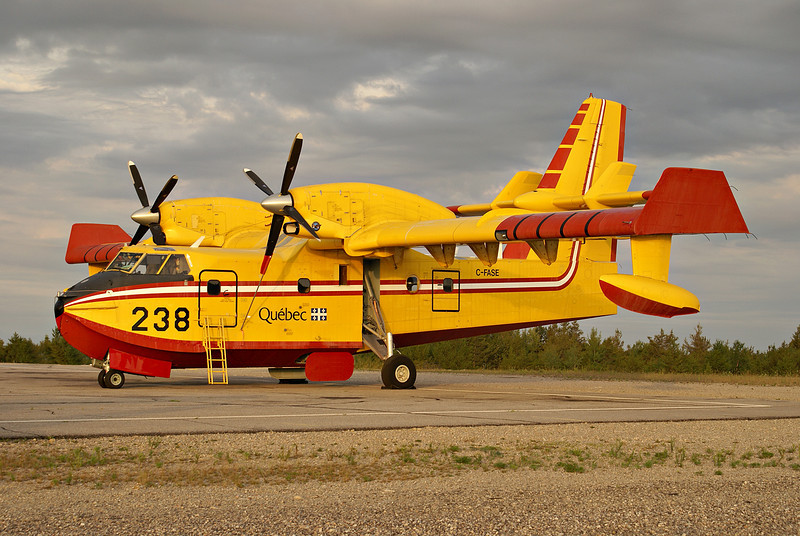 Quebec tanker 238, a Canadair CL-415 sits on the ramp at the Dryden airport.