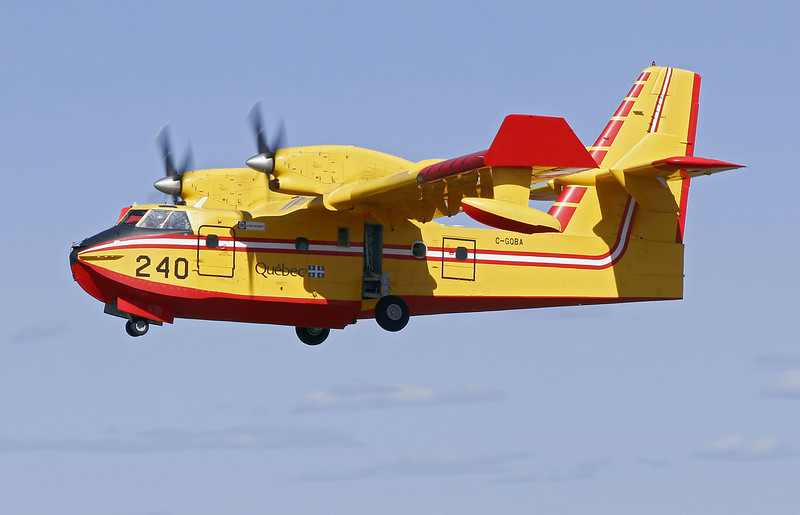 Tanker 240, a Government of Quebec Canadair CL215 6B11, after take off from runway 29.