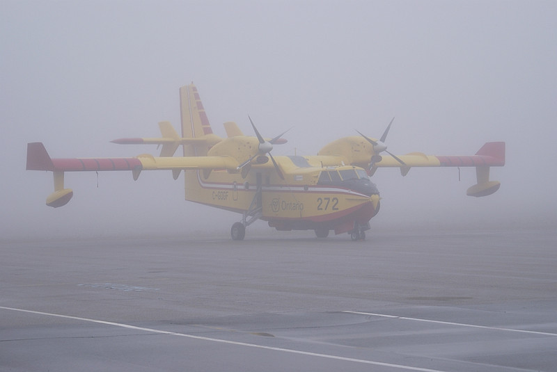 On this day, we where fogged in pretty good. Usually the fog burns off around 10:30 in the morning but on this day it didn't start to lift until around 13:30.