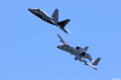 "USAF F-22 Raptor & A-10 Fairchild Republic A-10 Thunderbolt II ""Warthog"" Rome GA 10/12/2018 This work is licensed under a Creative Commons Attribution- NonCommercial 4.0 International License."