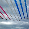 The famous flyover during the Red Arrows display at Farnborough Airshow