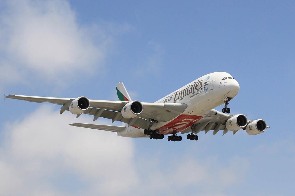 Emirates A380 landing at LAX