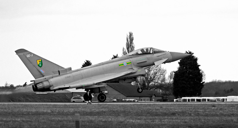 The RAF's Eurofighter Typhoon Aircraft of 3 Sqn returning to base. Picture taken at RAF Coningsby, Lincolnshire (UK)