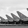 The RAF's Eurofighter Typhoon Aircraft of 29 Sqn  lined up on the apron ready to go at RAF Coningsby in Lincolnshire