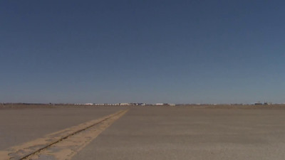 The NASA Super Guppy taking off from Rick Husband International in Amarillo, Texas.