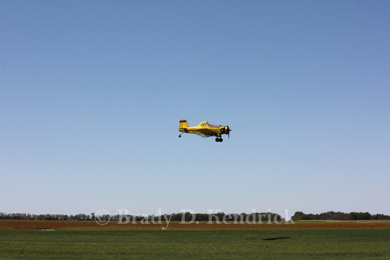 A crop duster near Wilson, Kansas.