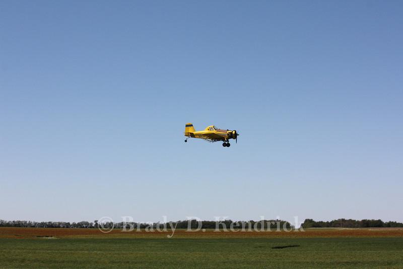 A crop duster near Wilson, Kansas.