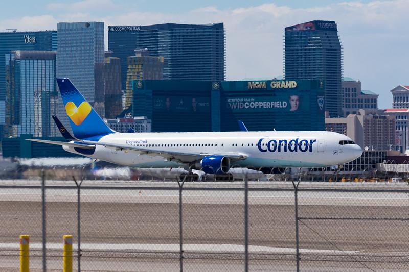 -(Airline) Condor Flugdienst<br /> -(Aircraft) Boeing 767-300ER <br /> -(Aircraft Registration) D-ABUI<br /> -(Flight Number) Condor 2063<br /> -(Flight Route) McCarran International Airport, NV to Frankfurt Airport, Germany