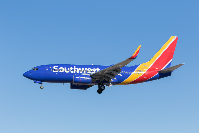 -(Airline) Southwest Airlines<br /> -(Aircraft) Boeing 737-700<br /> -(Aircraft Registration) N7874B<br /> -(Flight Number) Southwest 709 <br /> -(Flight Route)  Reno-Tahoe International Airport, NV to McCarran International Airport, NV