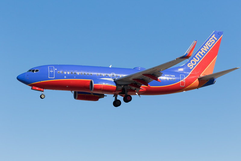 -(Airline) Southwest Airlines<br /> -(Aircraft) Boeing 737-700<br /> -(Aircraft Registration) N957WN<br /> -(Flight Number) Southwest 123 <br /> -(Flight Route) San Jose International Airport, CA to McCarran International Airport, NV