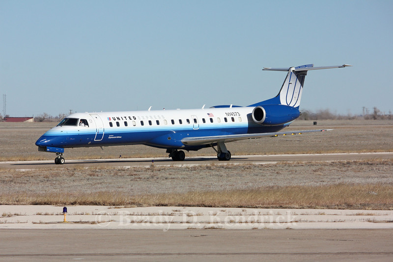 Airline:  United Express<br /> <br /> Aircraft Type:  Embraer ERJ-145<br /> <br /> Photo Location:  Rick Husband International Airport in Amarillo, Texas