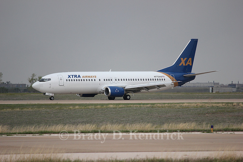 Airline:  Xtra Airways<br /> <br /> Aircraft Type:  Boeing 737-400<br /> <br /> Photo Location:  Rick Husband International Airport in Amarillo, Texas