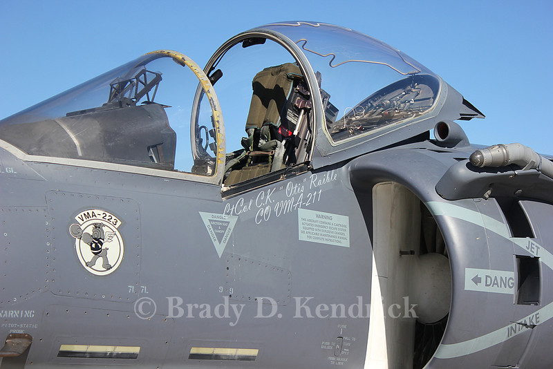 "-(Aircraft) McDonnell Douglas AV-8B Harrier II<br /> -(Nation & Service) United States Marine Corps<br /> -(Squadron) Marine Attack Squadron 223 ""Bulldogs"" <br /> -(Home Base) Marine Corps Air Station Cherry Point, North Carolina <br /> <br /> Note:  Name of Lieutenant Colonel Chris Raible of VMA-211 painted under the canopy as a memorial to him (KIA duirng the September 2012 Camp Bastion raid)"