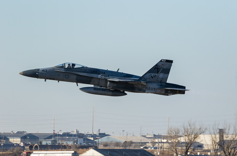 """-(Aircraft) McDonnell Douglas F/A-18A+ Hornet <br /> -(Nation & Service) United States Navy<br /> -(Squadron) Strike Fighter Squadron 204 """"River Rattlers"""" <br /> -(Home Base) Naval Air Station Joint Reserve Base New Orleans, Louisiana"""