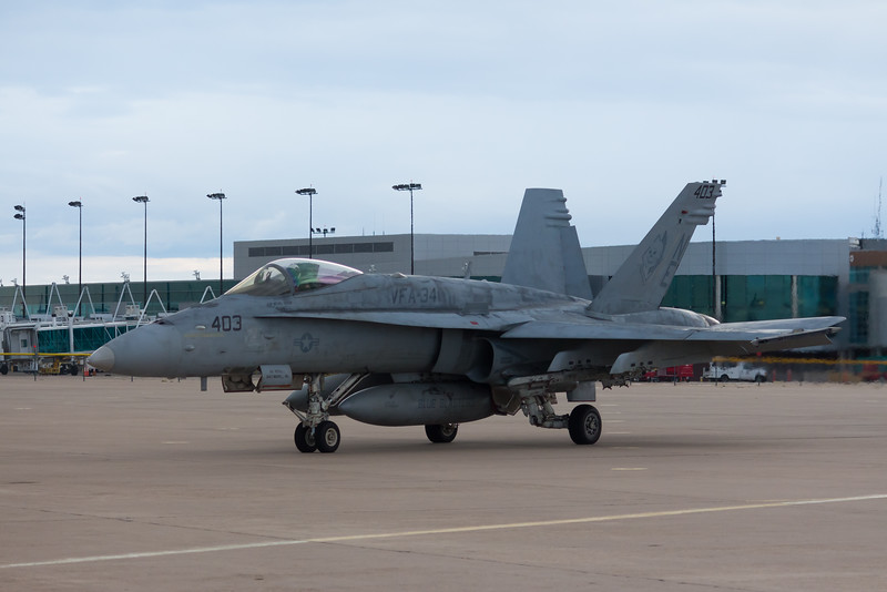 "-(Aircraft) McDonnell Douglas F/A-18C Hornet<br /> -(Nation & Service) United States Navy<br /> -(Squadron) Strike Fighter Squadron 34 ""Blue Blasters""<br /> -(Home Base) Naval Air Station Oceana, Virginia"