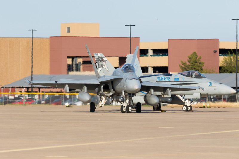 """-(Aircraft) McDonnell Douglas F/A-18A+ Hornet<br /> -(Nation & Service) United States Marine Corps<br /> -(Squadron) Marine Fighter Attack Squadron 112 """"Cowboys""""<br /> -(Home Base) Naval Air Station Joint Reserve Base Fort Worth, Texas"""