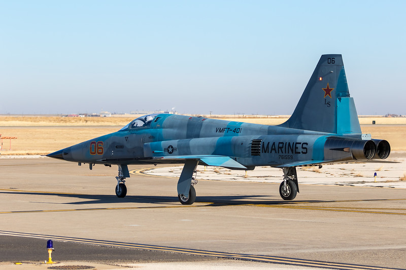 "-(Aircraft) Northrop F-5N Tiger II <br /> -(Nation & Service) United States Marine Corps<br /> -(Squadron) Marine Fighter Training Squadron 401 ""Snipers""<br /> -(Home Base) Marine Corps Air Station Yuma, Arizona"