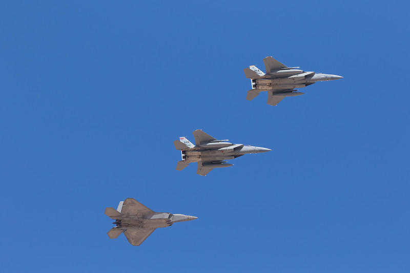 """-(Aircraft) Lockheed Martin F-22A Raptor & McDonnell Douglas F-15C Eagle<br /> -(Nation & Service) United States Air Force<br /> -(Squadron) 422nd Test & Evaluation Squadron """"Green Bats"""" & 131st Fighter Squadron """"Barnestormers""""<br /> -(Home Base) Nellis Air Force Base, Nevada & Barnes Air National Guard Base, Massachusetts"""