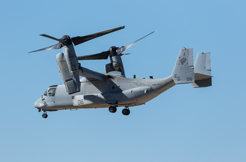 "-(Aircraft) Bell-Boeing MV-22B Osprey<br /> -(Nation & Service) United States Marine Corps<br /> -(Squadron) Marine Medium Tiltrotor Squadron 263 ""Thunder Chickens""<br /> -(Home Base) Marine Corps Air Station New River, North Carolina"