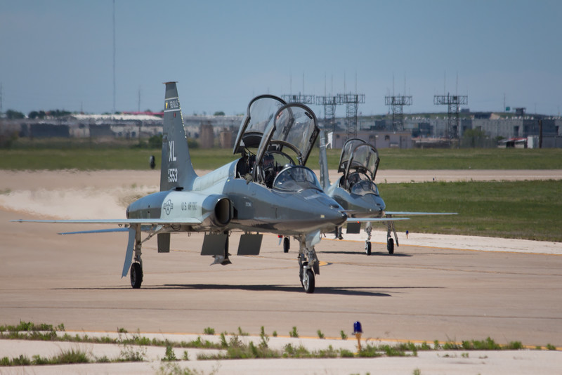 """-(Aircraft) Northrup T-38C Talon<br /> -(Nation & Service) United States Air Force<br /> -(Squadron) 434th Flying Training Squadron """"Red Devils""""<br /> -(Home Base) Laughlin Air Force Base, Texas"""