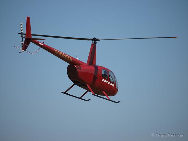N168BA, a Robinson R44 leaving American Heroes Air Show 2010 from Hansen Dam