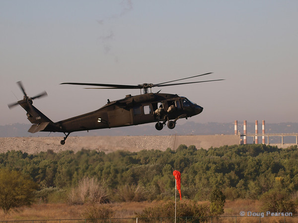 US Army UH-60A Blackhawk, tail number 560 landing at Hansen Dam for American Heroes Air Show 2012.