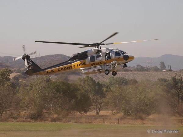 LACoFD Copter 16, N160LA landing at Hansen Dam for American Heroes Airshow 2012.