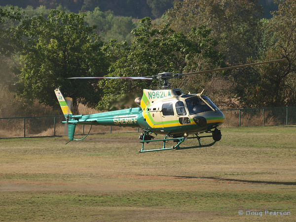 N962LA, a Eurocopter AS 350 B2 used by LA County Sheriff landing at Hansen Dam for American Heroes Air Show 2012.