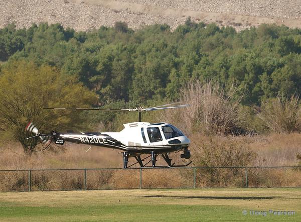 N420LE an Enstrom 480B preparing  to land Hansen Dam for American Heroes Airshow 2012.