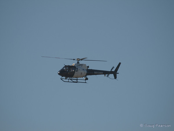 N913WB a Eurocopter AS 350 B2 used by LAPD on approach to Hansen Dam for American Heroes Air Show 2012.