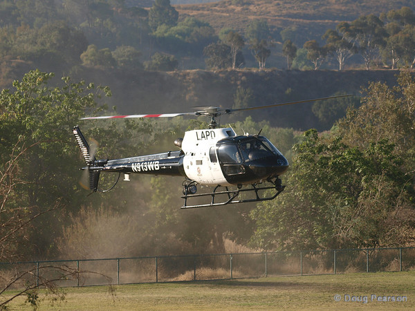 N913WB a Eurocopter AS 350 B2 used by LAPD landing at Hansen Dam for American Heroes Air Show 2012.