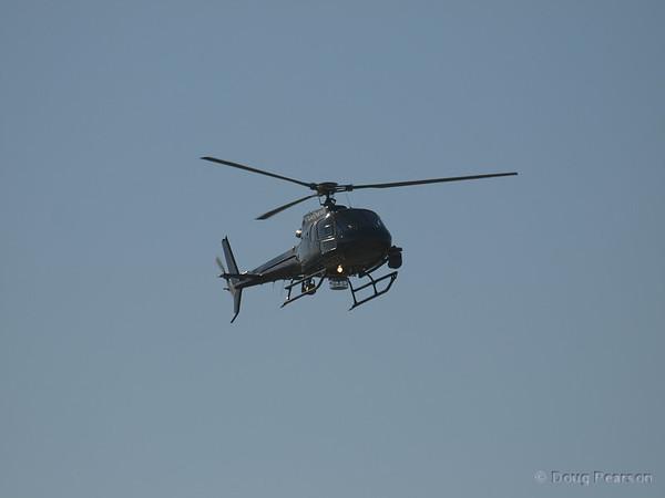 KTLA Sky 5, N925TV arriving at Hansen Dam.