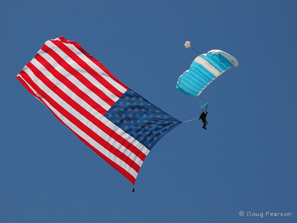 Parachutist with an American flag