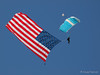 Parachutist with an American flag