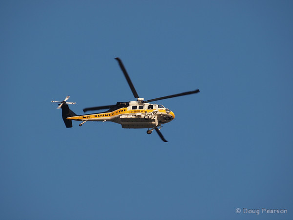 Los Angeles County Fire Copter 16 was working on Sunflower IC when this picture was taken.