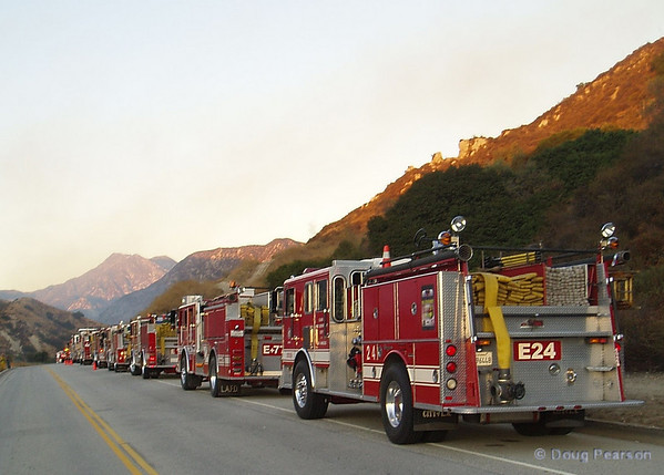 LA City Fire assisting Angeles National Forest on a small brush fire near Little Tujunga Road.