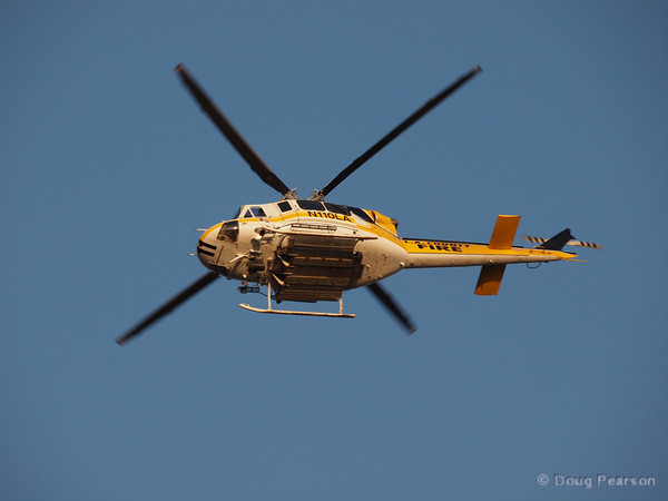 Los Angeles County Fire Department Copter 11 working Sunflower IC.