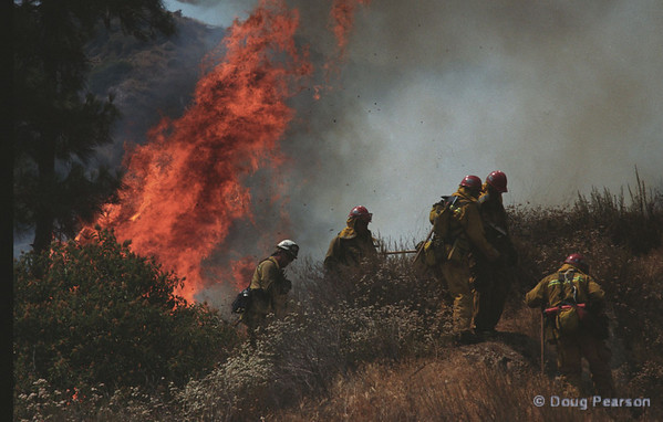 Camp Crew gets out of the way of a Brush Fire in Brand Park, Glendale.  July 4th, 1995.