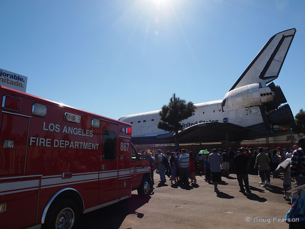 LAFD handled the crowd while Endeavour slowly makes her way home.