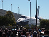 Endeavour passes the Los Angeles Swim Stadium before going into the California Science Center