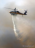 Copter 15 drops water on the fire front, Sept 29 Freeway Incident. The old road at SR-14, North of the I-5 & SR-14 interchange.