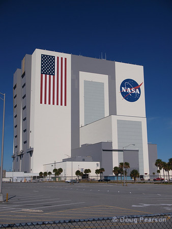Built for the Apollo program, the Vehicle Assembly Building (VAB) is used for final assembly of the Space Shuttle prior to launch.