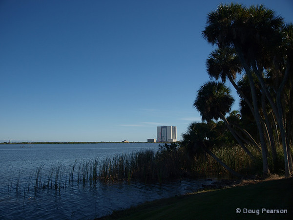 The VAB as seen from the Shuttle Launch viewing area for Astronaut<br /> families. Located at the KSC Saturn 5 exhibit, this area provides a<br /> secluded location for Shuttle Astronaut families to watch liftoff.